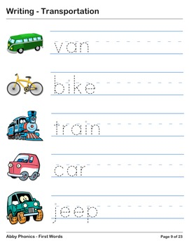 Abby Phonics - First Words - Transportation Vocabulary Series