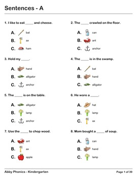 Abby Phonics - Kindergarten - Sentence Completion Exercises