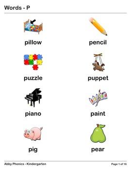 Abby Phonics - Kindergarten - The Letter P Series