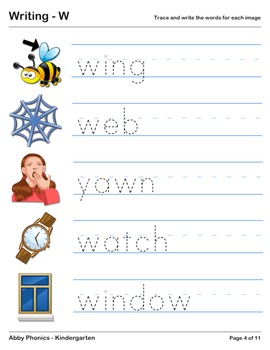 Abby Phonics - Kindergarten - The Letter W Series