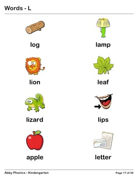 Abby Phonics - Kindergarten - Word FlashCards