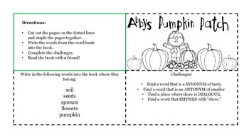 Pumpkin Patch Story, a book for Halloween or Thanksgiving Literacy Centers