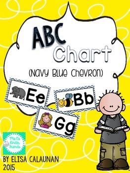 Abc Chart Posters - Navy Blue Chevron