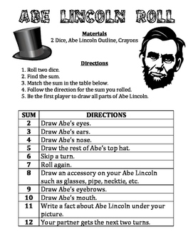 Abe Lincoln Roll - A February Math & Art Activity to Practice Adding Numbers