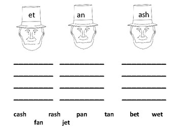 Abe Lincoln Word Families