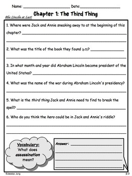 Abe Lincoln at Last! (Magic Tree House) Study Guide