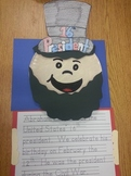 Abe Lincoln hat, paper pattern, and writing activity