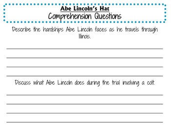 Abe Lincoln's Hat by Martha Brenner:  A Complete Literature Study!