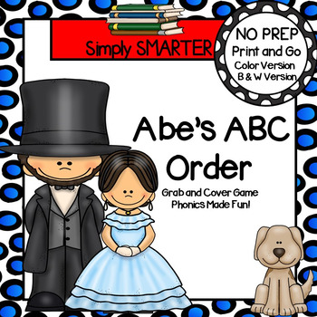 Abe's ABC Order:  NO PREP Abraham Lincoln Themed Grab and Cover Game