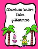 Abecedario Cursivo - Piñas y Flamencos