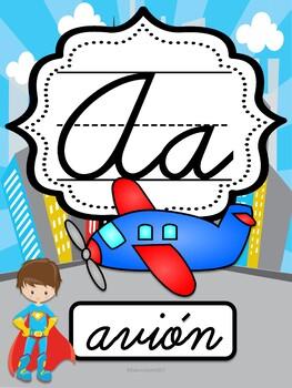 Abecedario Cursivo Superhéroes / Cursive Spanish Superhero alphabet