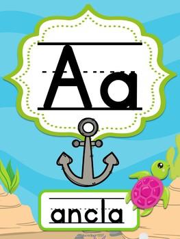 Abecedario Manuscrito - Bajo el mar (Under the sea Spanish Alphabet)