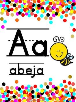 Abecedario Manuscrito Confetti (sin fonemas) - Spanish Confetti Alphabet Posters