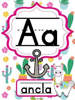 Abecedario Manuscrito Llamas II - Spanish Llama themed alphabet posters