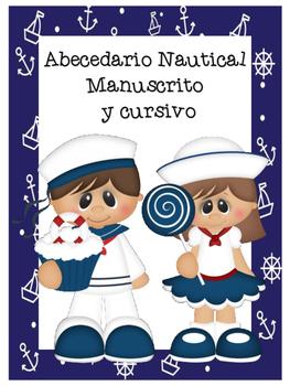 Abecedario Manuscrito y cursivo - Motivo Nautical