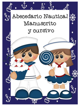 Abecedario Manuscrito y cursivo - Motivo Nautical