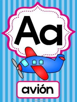 Abecedario-Posters (Líneas multicolores)   Spanish ABC