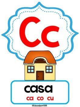 Abecedario - Posters Montessori letter coloring   / Spanish ABC posters