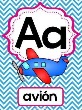 Abecedario-Posters (chevron multicolores)   Spanish ABC