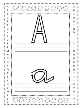 Abecedario español  spanish completo. 30 pages. Para aprender trazo en cursiva.