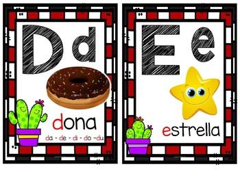 Abecedario en español Cactus negro y rojo 2 letras por página
