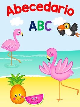 Abecedario en español Flamingo Tropical
