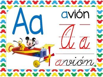 Abecedario manuscrito y cursivo Motivo Mickey
