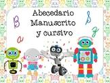 Abecedario manuscrito y cursivo Motivo Robots