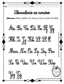 abecedario para trazar en cursivo tpt