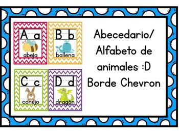 spanish alphabet/Alfabeto de animales (Borde Chevron)