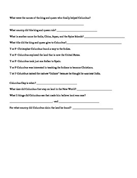 3rd Grade Abeka History Columbus and Smith Chapter Study Guides
