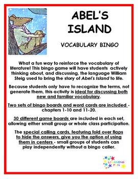 Abel's Island Vocabulary Bingo