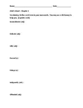 Abel's Island Worksheets