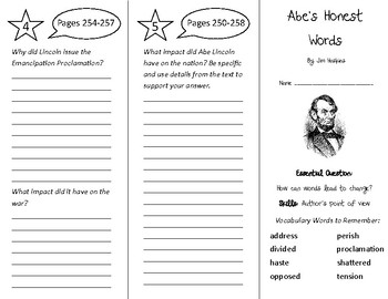 Abe's Honest Words Trifold - Wonders 4th Grade Unit 3 Week 4