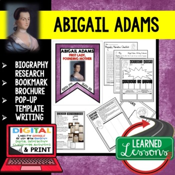 Abigail Adams Biography Research, Bookmark Brochure, Pop-Up, Writing