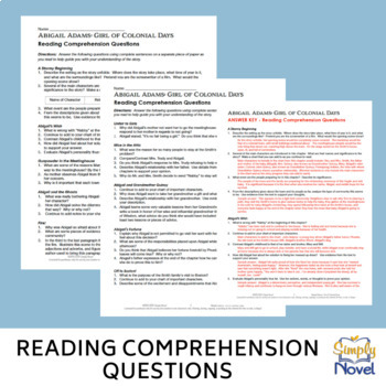 Abigail Adams: Girl of Colonial Days Reading Comprehension Questions