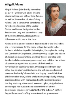 Abigail Adams Handout with activities