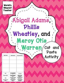 Abigail Adams, Phillis Wheatley, Mercy Otis Warren: Cut and Paste Activity