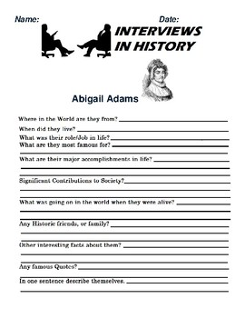 Abigail Adams Research and interview Assignment