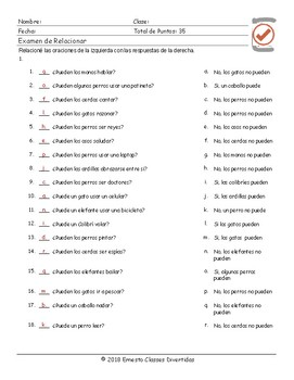 Ability Modal Verbs Spanish Matching Exam