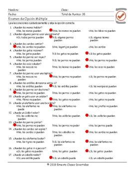 Ability Modal Verbs Spanish Multiple Choice Exam