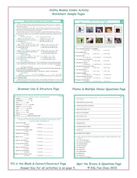Ability Modals Combo Activity Worksheets