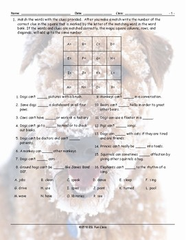 Ability Modals Magic Square Worksheet