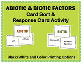 Abiotic & Biotic Factors Card Sort and Response Cards Activity