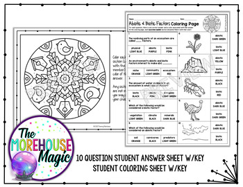 Abiotic & Biotic Factors Science Color By Number or Quiz
