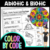 Abiotic & Biotic Factors Science Color By Number or Quiz