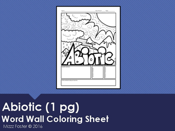 Abiotic Word Wall Coloring Sheet