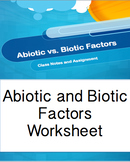 Abiotic and Biotic Factors PPT Worksheet