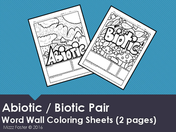 Abiotic and Biotic Word Wall Coloring Sheets (2 pgs)