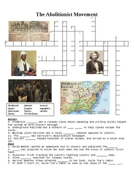 Abolition Grows Crossword Puzzle and Web Quest